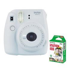 Fujifilm กล้องอินสแตนท์ รุ่น Instax Mini 9 (สี Smoky White) + Fujifilm แผ่นฟิล์ม Instax Mini Pack 10 แผ่น.