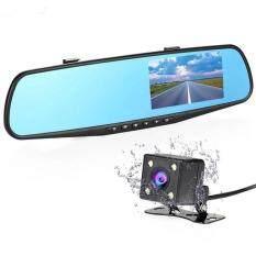 Full HD IR กล้องติดรถ หน้า+หลัง จัดของส่งพัสดุใน48ชั่วโมง กล้องติดรถยนต์ ติดกระจกมองหลัง Rear View Mirror