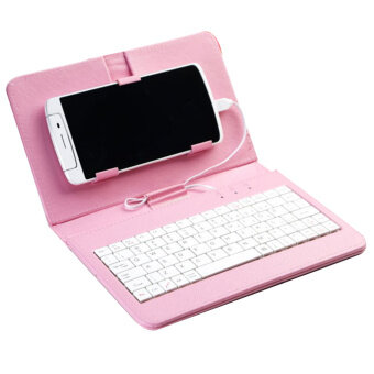 General Wired Keyboard Flip Holster Case For Android 4.2''-6.8'' Mobile Phone Unique PU Leather with KeypadPink - intl