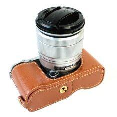 ขาย ซื้อ Genuine Leather Half Camera Case Cover Bag Base For Fujifilm Xm1 Xa1 Xa2 Brown Camera Not Included ใน จีน