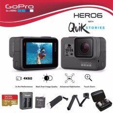 GoPro Hero 6 Black พร้อมเมมโมรี่ 32 GB, แบตเตอรี่และแท่นชาร์จ KingMa , ทุ่นลอยน้ำ, ไม้เซลฟี่ Oem 3 way และ กระเป๋ากันกระแทก