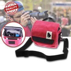 Hayashi - กระเป๋ากล้อง SLR Digital Camera Case Shoulder Bag Backpack for Canon For Sony (Red)