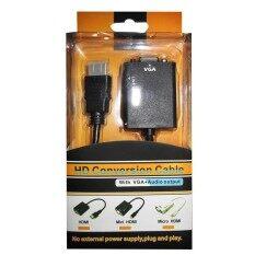 สายแปลงจาก Hdmi ออก Vga+audio, Hdmi To Vga + Audio Converter Adapter, Hd1080p Cable Audio Output .