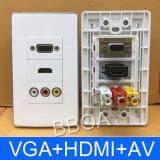 ขาย ซื้อ ออนไลน์ หน้ากากเต้ารับสาย Hdmi Vga Av Full Hd Outlet Wall Socket ติดในผนัง White