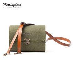 ขาย ซื้อ ออนไลน์ กระเป๋า Herringbone รุ่น Tiny Canvas Olive