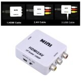 High Quality Mini Hd 1080P Hdmi2Av Video Converter Box Hdmi To Rca Av Cvsb L R Video Support Ntsc Pal Output Hdmi To Av Adapter เป็นต้นฉบับ