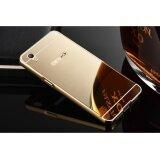 โปรโมชั่น High Quality Mirror Metal Frame Back Case Cover For Oppo A37 Gold Intl Unbranded Generic