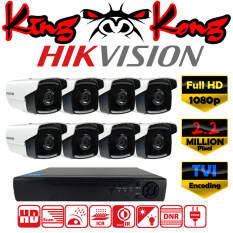 Hikvision ชุดกล้องวงจรปิดกล้อง 8CH CCTV กล้อง 8ตัว ทรงกระบอก 2.0 MP Full HD  และอนาล็อก เครื่องบันทึก 8ช่อง 1080P  DVR, NVR, AHD, TVI, CVI, Analog DS-2CE16D1T-IT5