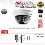 กล้องวงจรปิด Hikvision Hdtvi Dome Camera Ds 2Ce56C0T Irmm Lens 3 6 Mm ฟรี Adaptor 12V 1A X 1 Bnc F Type X 2 ไทย