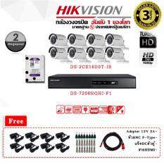 ชุดกล้องวงจรปิด HIKVISION ระบบ HDTVI รุ่น DS-2CE16D0T-IR 2MP INFARED 20 เมตร LENS 3.6 MM และเครื่องบันทึก TURBO HD DVR รุ่น DS-7208HQHI-F1  8 Chanal พร้อม HARDDISK WD PURPLE 1 TB  ฟรี Adaptor 12V2A  x 8 DCตัวผู้ x 8  BNC F-Type x 16 สายHDMI  x 1