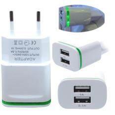 ราคา Hot Sale Usb High Quality Fast Charger Eu Plug 2 0A Wall 1 0A Dual Usb Mini Charger Ports Led Conducted Light Charging Power Adapter Quick ใน จีน
