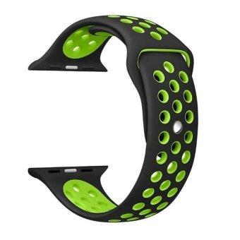 การส่งเสริม Hot Sales 42mm 1:1 Size Strap Silicon Sports Watch Band Strap for Apple Watch - Black and Green - intl find price - มีเพียง ฿107.14