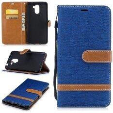 ขาย Huawei Y7 Case Fqy Tec Blue D Synthetic Leather And Tpu Wallet Card Slot Support Case For Huawei Y7 5 5 2017 Intl จีน