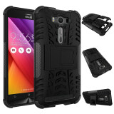 Hybrid Combo Body Armor Shockproof Case With Kickstand High Impact Cover For Asus Zenfone 2 Laser Ze550Kl 5 5 Inch Black Intl เป็นต้นฉบับ