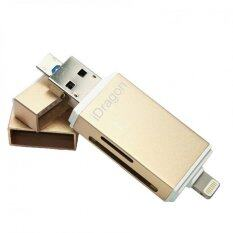 ราคา ราคาถูกที่สุด Idragon Idiskk Pro Card Reader Micro Sd Sd Card Usb 3 แฟลชไดร์ฟสำรองข้อมูลสำหรับ Iphone Ipad และ Android Gold