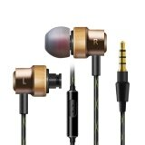 In Ear Beech Earphones Bass Stereo Headset With Iphone And 3 5Mm Android Mobile Phone Headset Metal Support Mp3 Portable Microphone Gold Intl เป็นต้นฉบับ