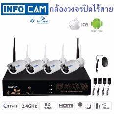 Infocam กล้องวงจรปิด ไร้สาย CCTV IP Camera wifi 4 ตัว พร้อม NVR เครื่องบันทึก 4ช่อง อุปกรณ์ติดตั้งครบเซต