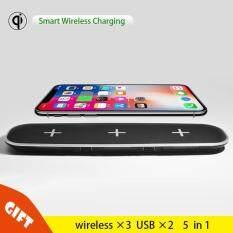 ขาย Iphone 8 X Samsungฐานชาร์จแบบไร้สายได้อย่างรวดเร็ว Qi Smart Wireless Fast Charging Base 5 In 1 ถูก