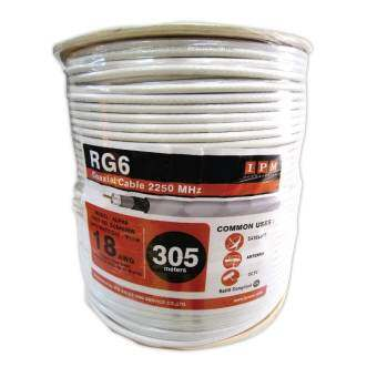 IPM สายนำสัญญาณRG6 ชิลด์ 64% ยาว305เมตร - สีขาว-
