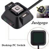 ส่วนลด Justgogo Computer Switch ปุ่มรีเซ็ตพลังงานพอร์ตไมโครโฟนเสียงพอร์ท Usb แบบ Dual