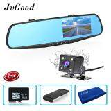 Jvgood Dual Lens Dash Cam Rear View Mirror Car Camera 4 3 Inch Tft Lcd Screen 1080P Driving Video Recorder With Back Up Camera G Sensor Loop Recording Parking Mode Motion Detection Night Vision 8Gb Tf Card Included เป็นต้นฉบับ