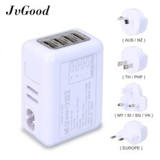 Jvgood International Universal Travel Power Adapter With 2.4a 4 Usb Charger & Worldwide Ac Wall Outlet Plugs.