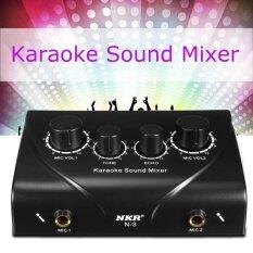 ส่วนลด สินค้า Karaoke Sound Mixer Dual Mic Inputs With Cable For Stage Home Ktv Black G7G1 Intl