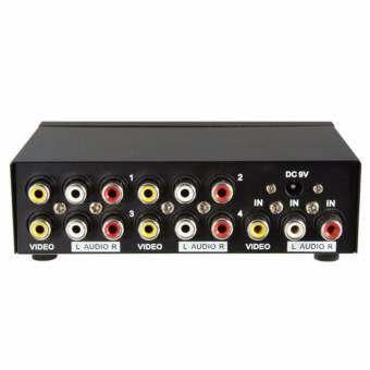 กล่องสัญญาณ ใช้สำหรับต่อเครื่อง 4 Port Video Audio Splitter (สีดำ)