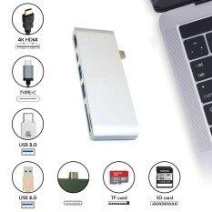 ราคา Kobwa Type C Usb 6 In 1 Combo Hub Multi Port Adapter With 2 Usb 3 Ports Type C Pass Through Hdmi 4K Usb C Sd Micro Sd Charging Port Card Reader For Laptop Intl