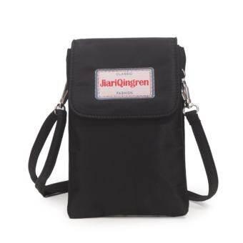 KOREA กระเป๋าสะพายใบเล็กผ้ากันน้ำใส่มือถือใส่สตางค์สองชั้น รุ่นMB025-2(สีดำ)-
