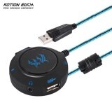 Kotion Each S2 External Usb Sound Card Plug And Play Stereo Headset Adapter For Pc Laptops Ps4 Intl ใน จีน