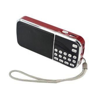 แอล - 088AM ลำโพงมินิแบบพกพา MP3 เสียงผู้เล่นไฟฉาย TF ช่องรับสัญญาณเสียง AM วิทยุเอฟเอ็มสีแดง - นานาชาติ-