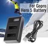 Lcd Screen Dual Battery Charger Dc 5V Usb For Gopro Hero 5 Action Camera ใหม่ล่าสุด