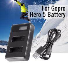 LCD Screen Dual Battery Charger DC 5V USB for GoPro Hero 5 Action Camera