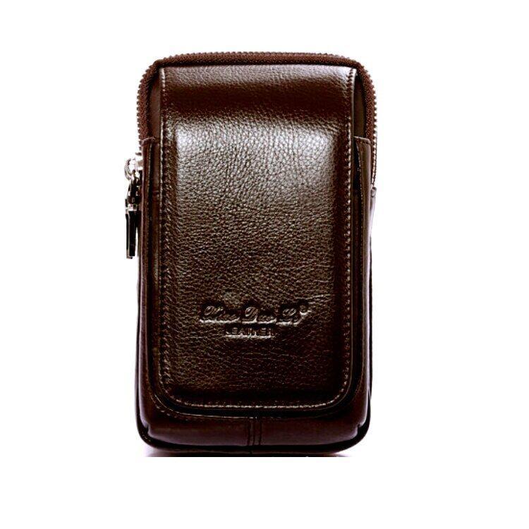 Leather Inc ซองใส่มือถือ3ชั้นแบบคาดเข็มขัดหนังแท้ รุ่น C002-3-1(สีน้ำตาล)