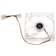LED Light PC Computer CPU Cooling Cooler Case Fan 4Pin DC 12V 120mm P0.33 (สีใส)