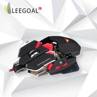 Leegoal เมาส์สำหรับเล่นเกมส์แบบสามารถโปรแกรมได้ 10 ปุ่ม Combaterwing 4800 dpi ของเมาส์ไร้สายสำหรับเล่นเกมมืออาชีพ สีดำ