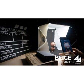 กล่องถ่ายภาพสินค้า : Light room box ขนาด 22.6x23x 24cm-ฉากหลังสีขาว+ดำ (LED Kit+Micro USB)