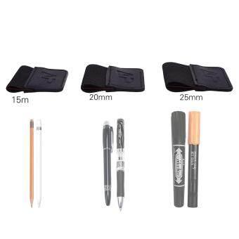 Lightning Power - Adhesive Pen Loop Holder for Moleskine Papermate Notebook Sketch Book Apple iPad Pro Pencil Fountain Pen (15/20/25mm) Elastic Loop (Black) - intl