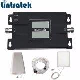 โปรโมชั่น Lintratek Kw17L Gw P13 65Db Gain Lcd Display Gsm 900 3G 2100 Mhz Dual Band Cell Phone Signal Amplifier Repeater Lpa Antenna Set Black Color Intl