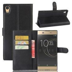 กระเป๋าสตางค์หนังลิเธียมหนังสำหรับ Sony Xperia Xa1 Ultra สีดำ ถูก