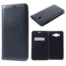Litchi Texture Leather Case Cover For Samsung Galaxy J7 Sm J700F Dark Blue เป็นต้นฉบับ