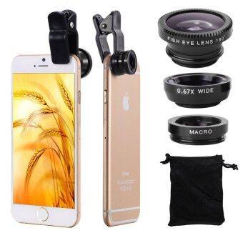 LIVAชุดเลนส์เสริมกล้องมือถือ ซัมซุง ไอโฟน HTC รุ่น BE PRO - เลนส์ฟิชอายส์ เลนส์ไวลด์ เลนส์มาโคร พร้อมฝาปิดเลนส์ และ ถุงผ้ากำมะหยี่สีดำ (สีดำ)