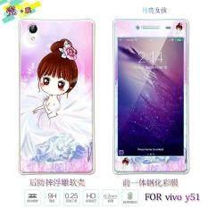 ซื้อ Lovely 3D Painting Front Full Cover Color Tempered Glass Case Back Tpu Case Screen Protector Film For Vivo Y51 Intl ถูก จีน