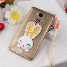 ซื้อ Luxury Bling Diamond Cute Rabbit Ears Soft Tpu Stand Case With Lanyard For Huawei Ascend Mate7 Gold ใหม่