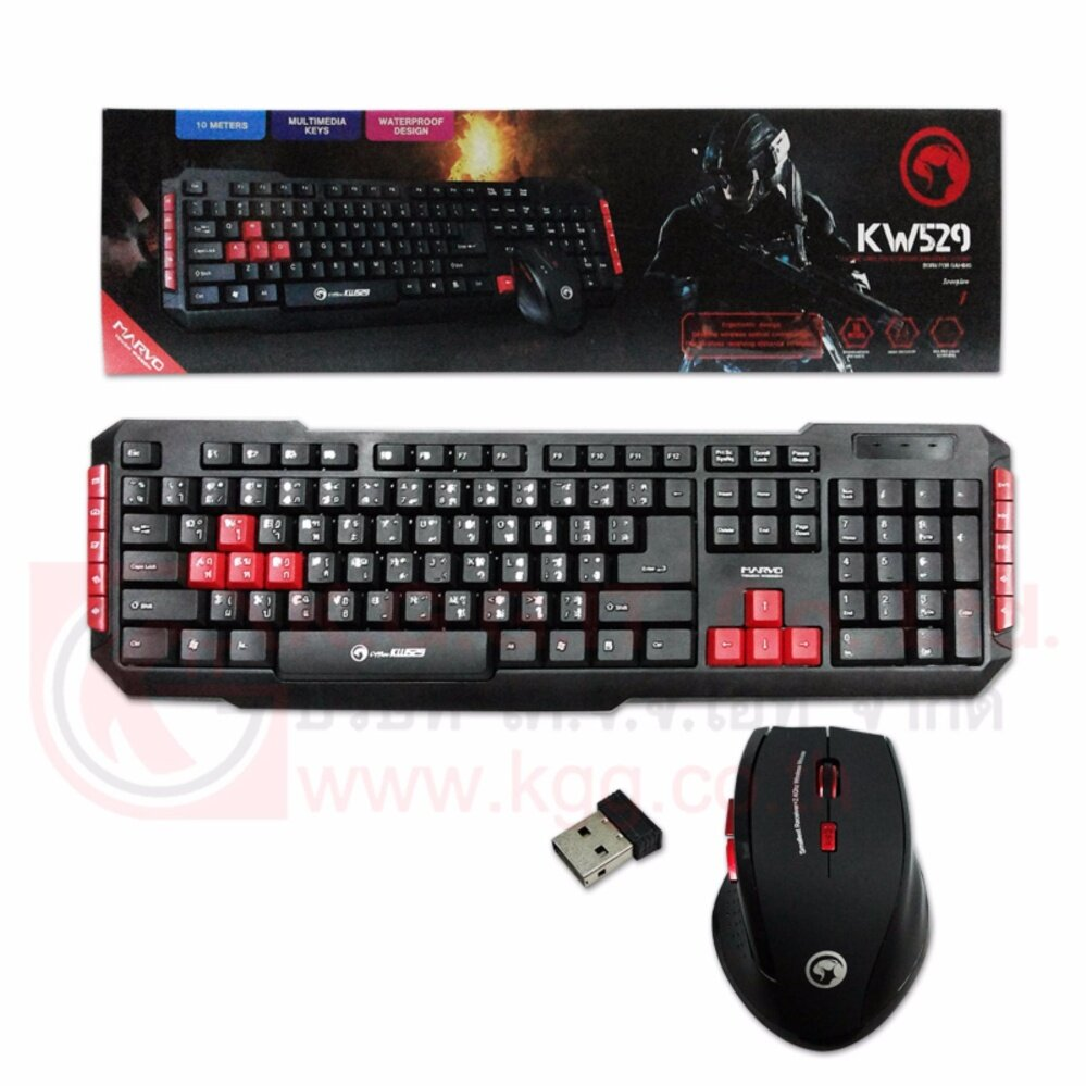 MARVO SET KEYBOARD+MOUSE WIRELESS KW529 (BLACK)