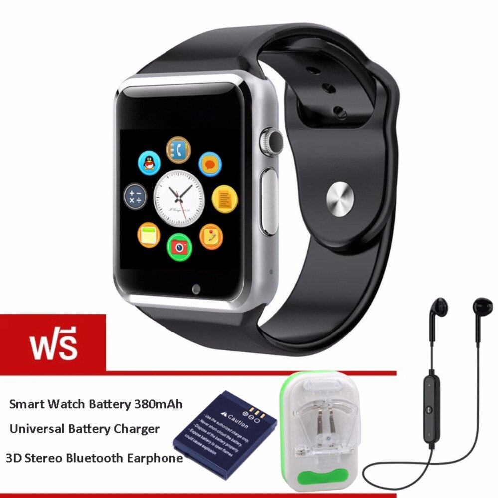 MEGA Bluetooth A1 Smart Watch with Sport Pedometer Camera SIM micro SD Memory Connectivity with iPhone Android Phone รุ่น MG0032 (Black/Silver) (ฟรี 1pc Smartwatch Battery+Charger+Bluetooth Earphone Black)