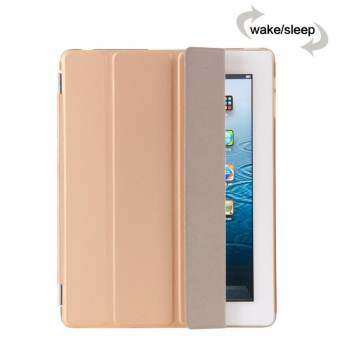 MEGA Luxury PU Leather Ultra Slim Smart Magnetic Wake/Sleep Flip Pad Cover + Translucent Protect Case for Apple iPad 2/3/4 MG0041 (Gold)