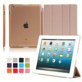 Image 5 for MEGA Luxury PU Leather Ultra Slim Smart Magnetic Wake/Sleep Flip Pad Cover + Translucent Protect Case for Apple iPad 2/3/4 MG0041 (Gold)