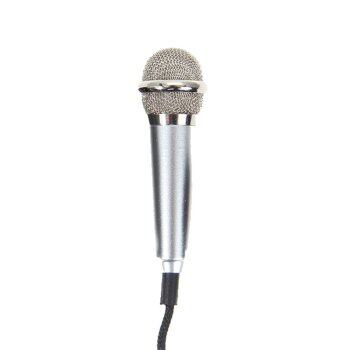 Mini Condenser Microphone with 3.5mm Plug Mobile Phone and Mic Stand(Silver) -